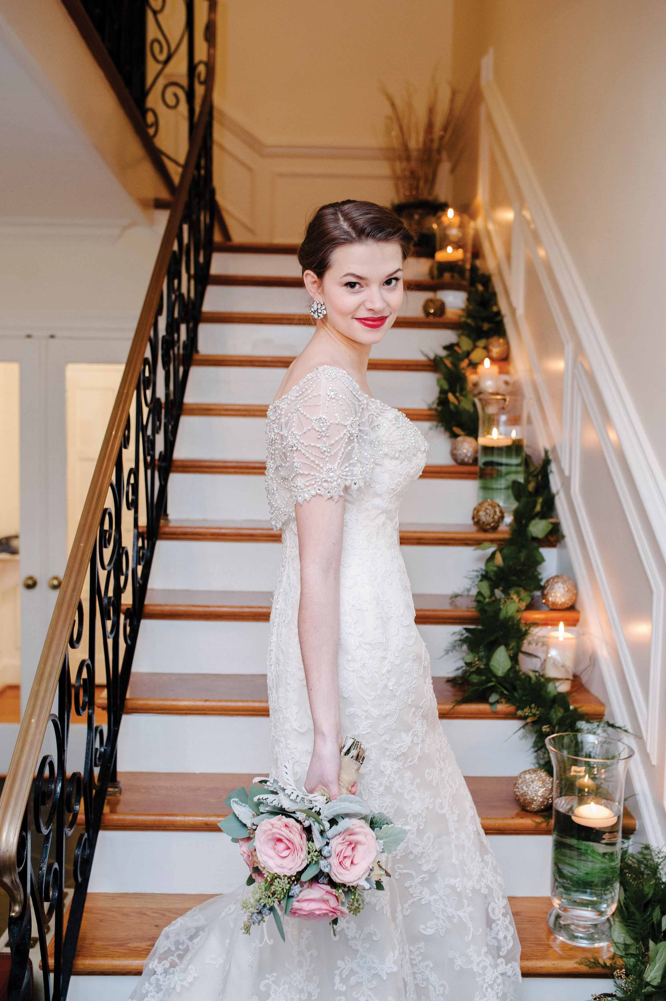 Bride Standing On The Stairs At House Gaie Lea