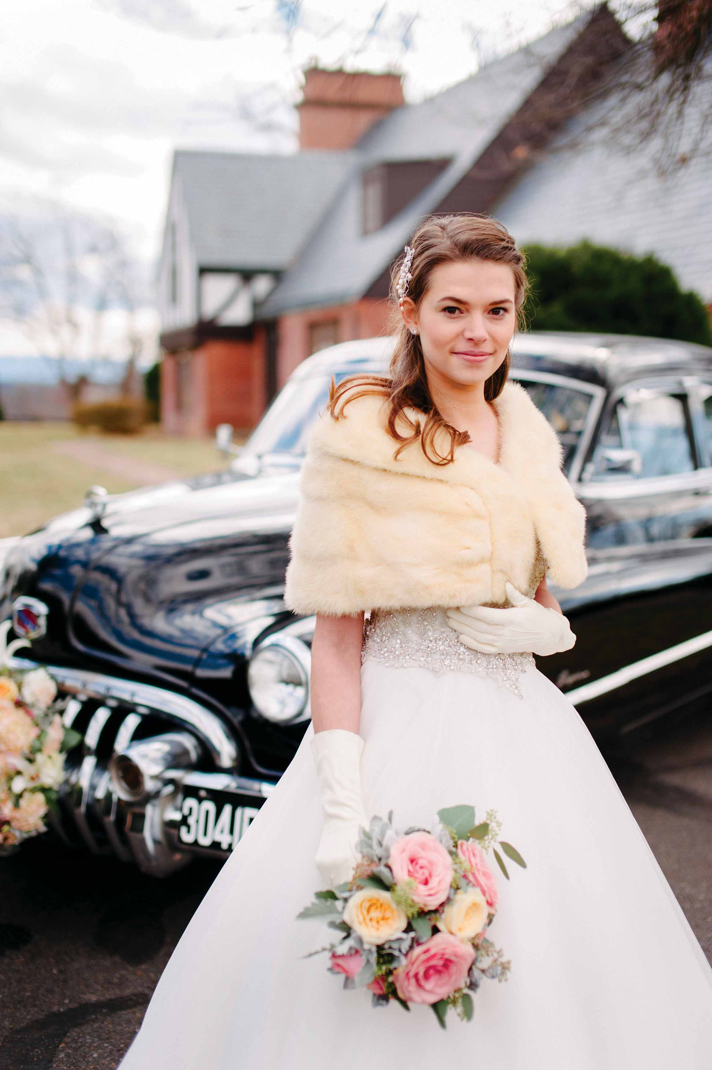 A Bride Standing By Classic Car At Gaie Lea In Staunton VA
